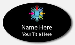Oval Name Tag with Color Image & Text