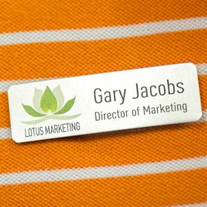 Name Tag on Orange Shirt