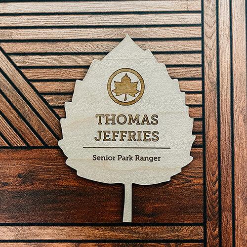 leaf-shaped custom wood name badge