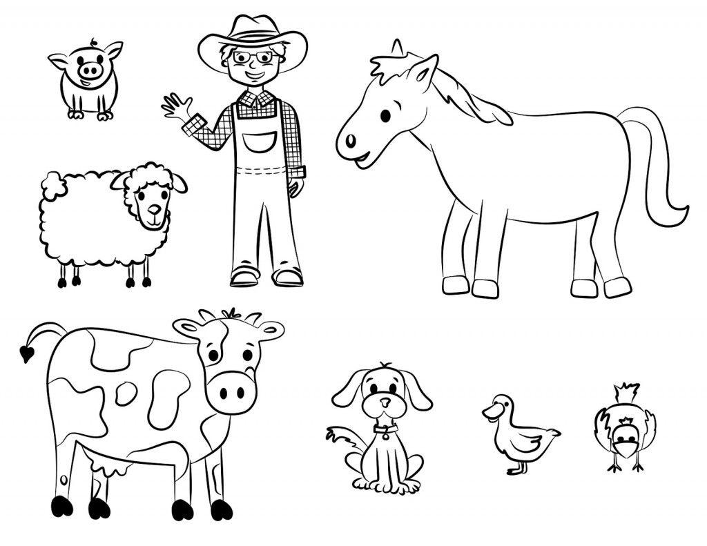 Free Tracing Farm Coloring Worksheets