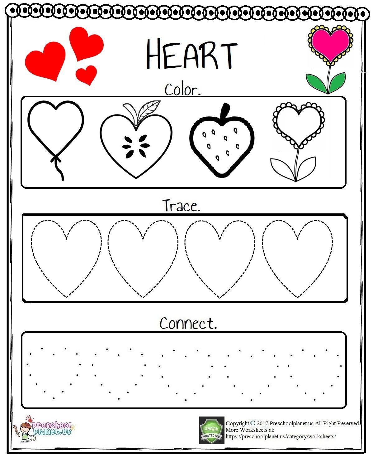 Heart Tracing Worksheet Free