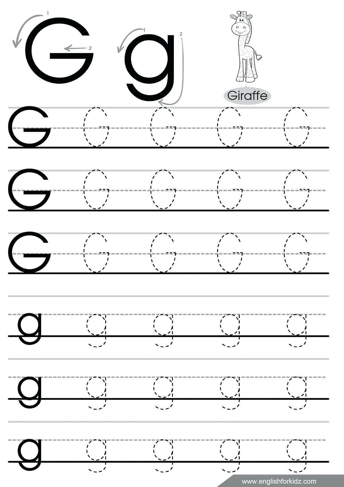 Lowercase G Tracing Worksheet