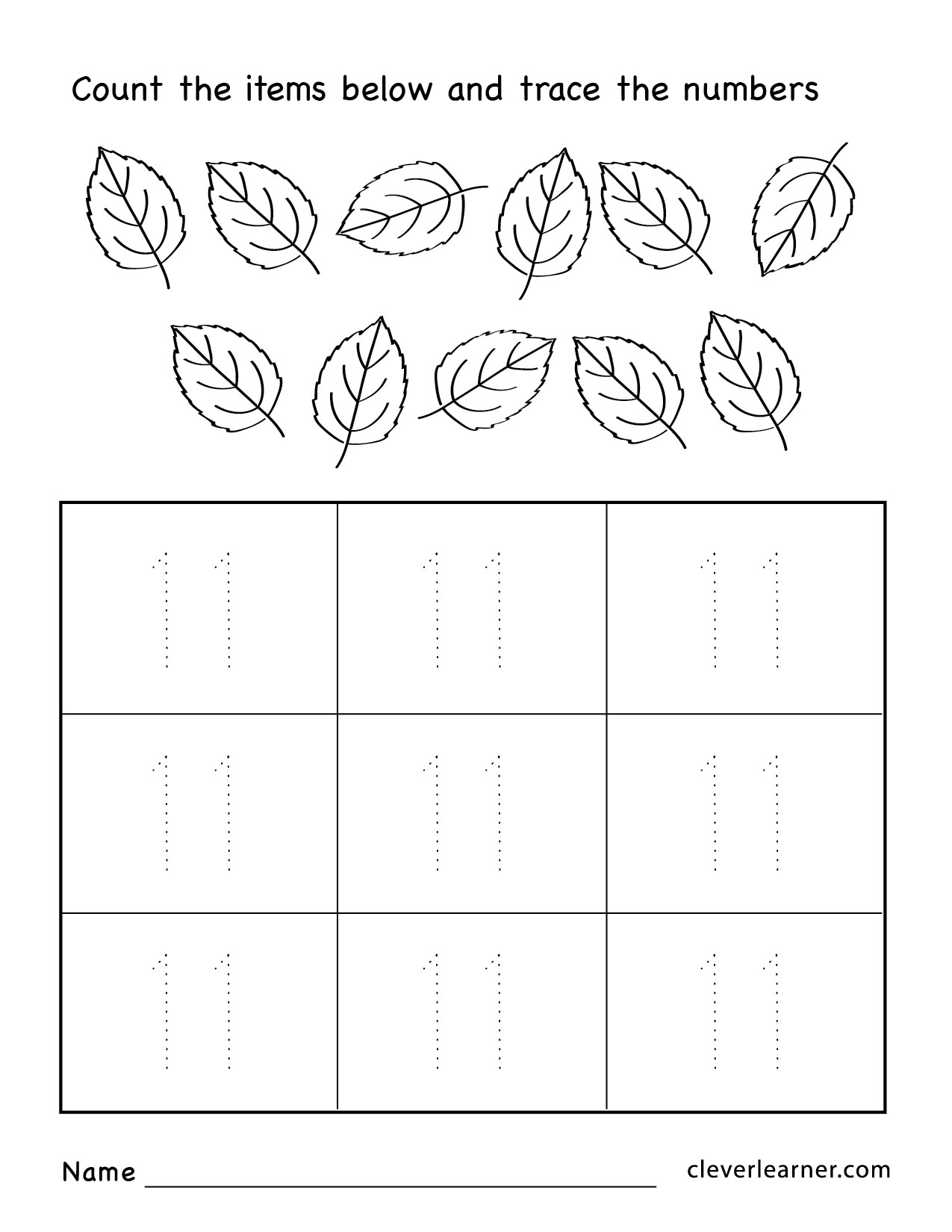 Number Tracing Worksheet 11 20