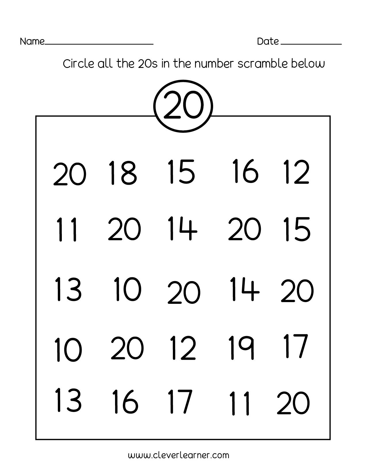 Number Tracing Worksheets 10 20