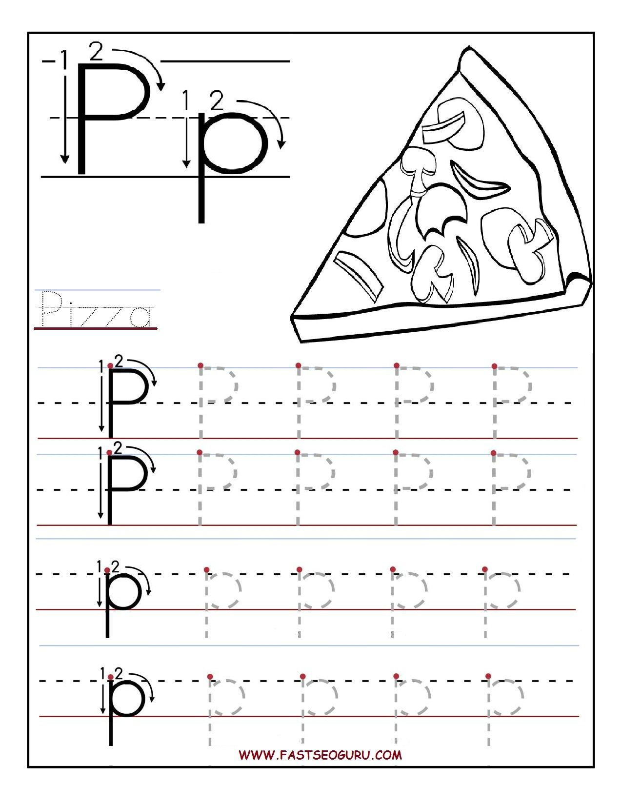 Letter P Tracing And Coloring Worksheets For Preschool