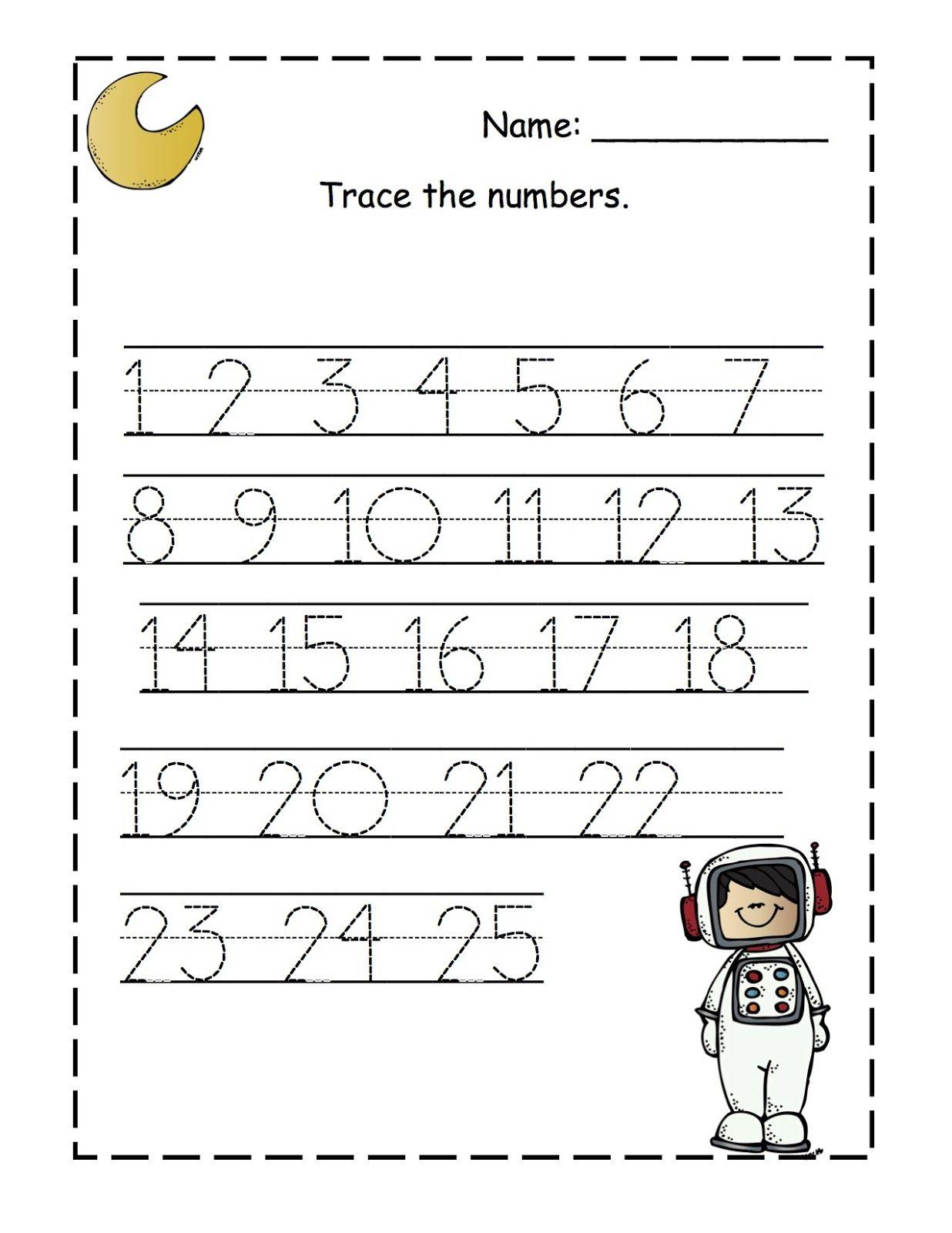 Number Tracing Worksheets 1 25