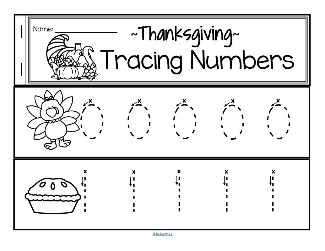Number Tracing Worksheet Thanksgiving Theme