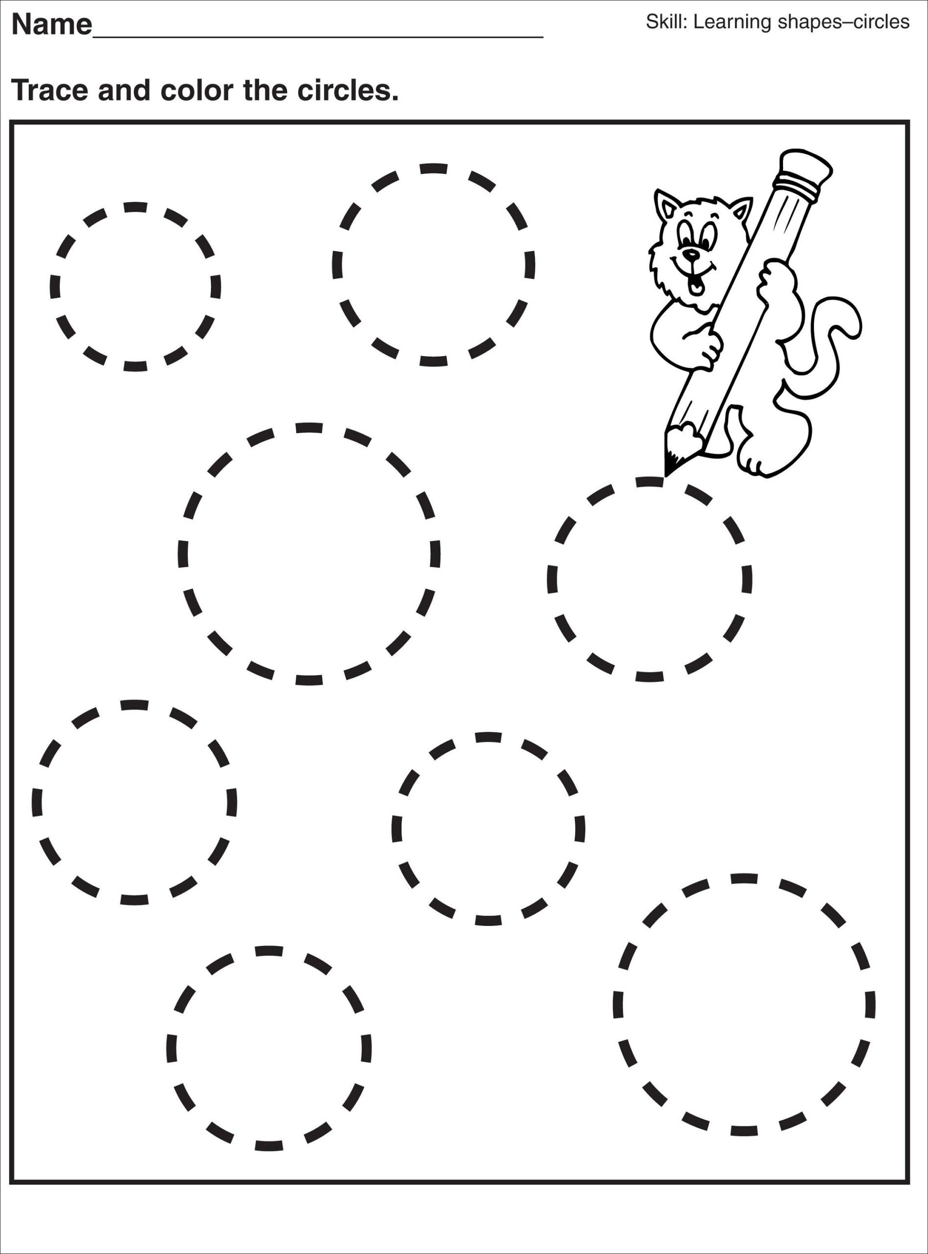 Shape Tracing Circle Worksheet