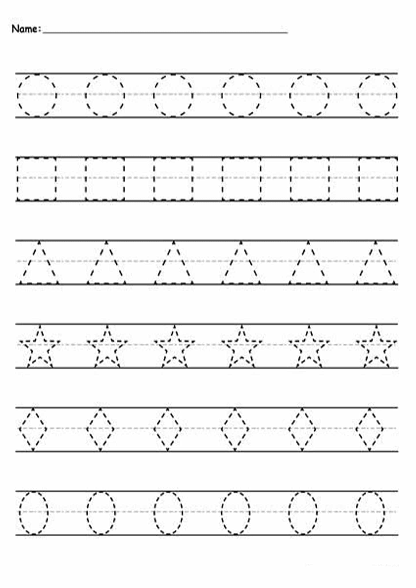 Tracing Worksheets For 3 Year Olds Shapes