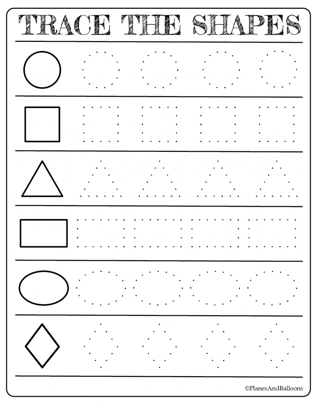 Tracing Shapes Worksheets For Kindergarten