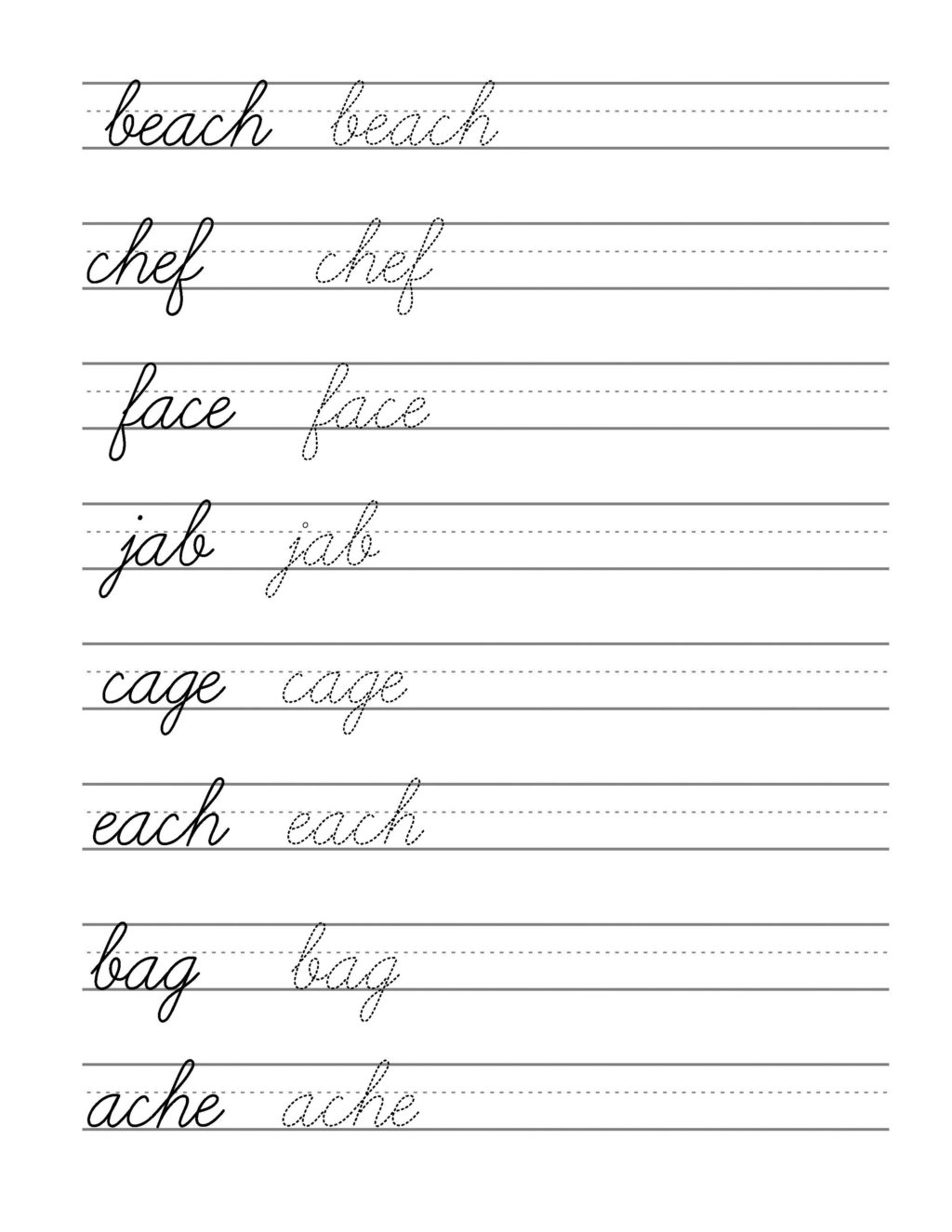 Cursive Writing Tracing Worksheets