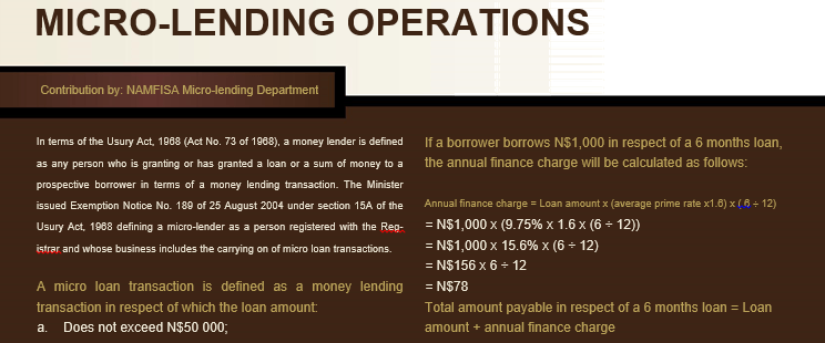 MICRO-LENDING OPERATION
