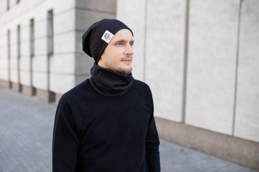Patogi rudeninė kepurė su nuotaikomis - Dvipusė Juoda-Mėlyna