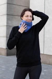 Patogus ryškus mėlynas šalikas-movas
