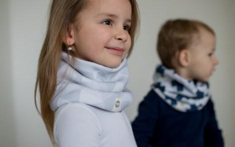 Stilingas mergaitiškas šalikas movas pilkas baltas
