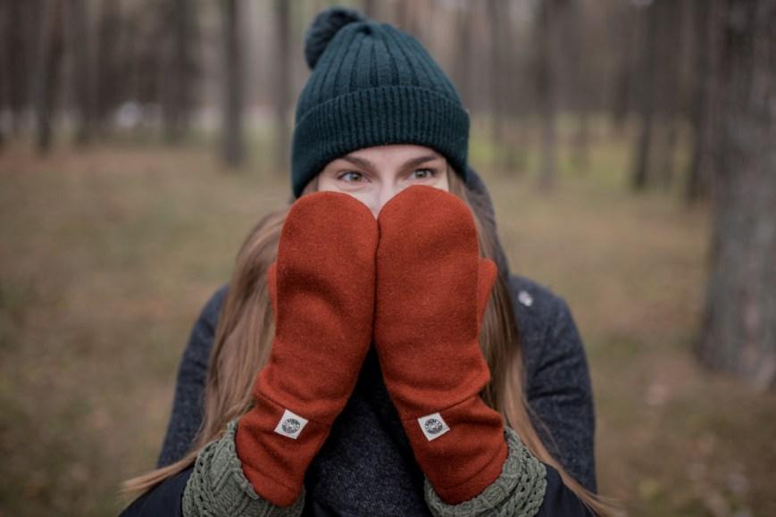 Šiltos pirštinės žiemai - Oranžinės