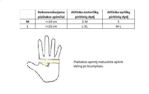 kumštinės pirštinės dydžių lentelė