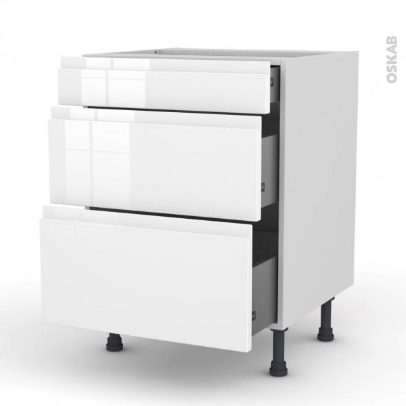 easy cuisine element bas 80cm casserolier 3 tiroirs gris laque rangements sur pied