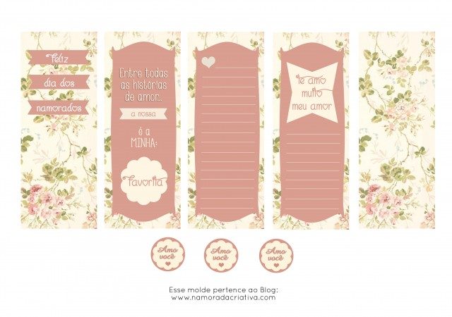 Molde Cartão dia dos Namorados Rosa