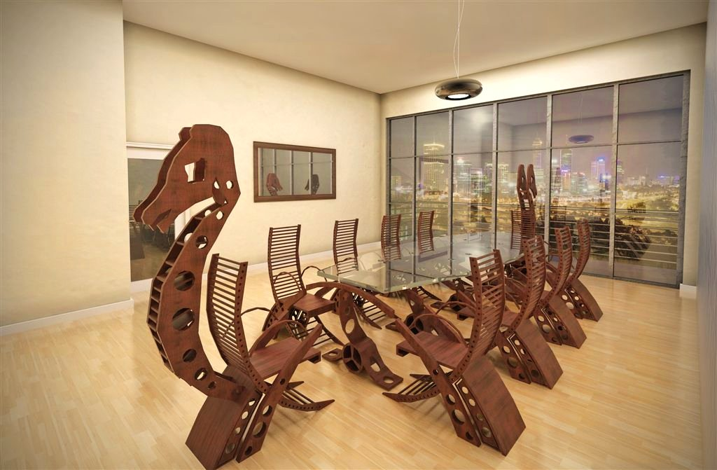 Viking Longboat Conference Table