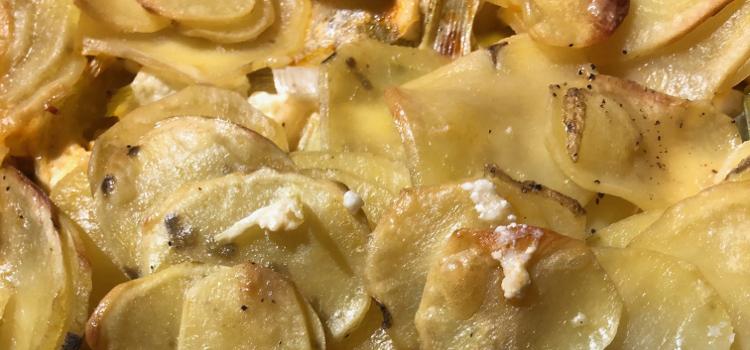 Gratin poireaux pommes de terre chorizo et feta