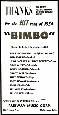 bimbo, records, 1954, song