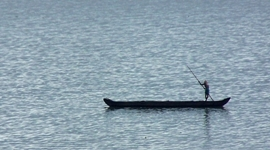 isolated man, on boat