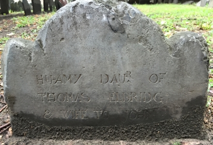 Huamy headstone at Kings Chapel Burying Ground