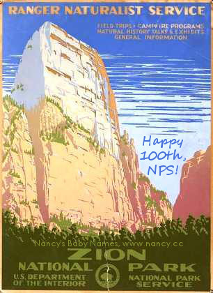 national park service 100th birthday (zion poster, 1938)