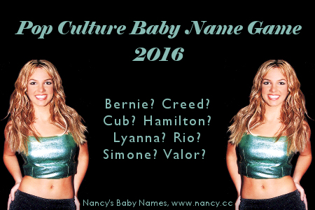 pop culture baby name game, 2016