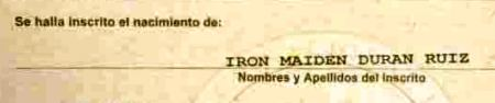 iron maiden, baby name