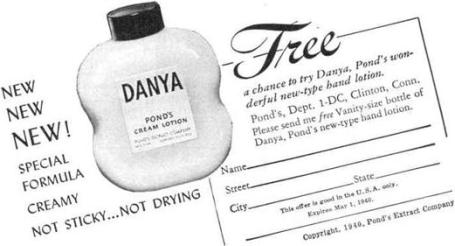 danya, hand cream, baby name, 1930s