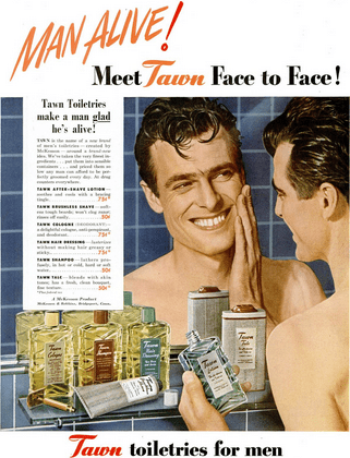 advertisement for tawn men's toiletries, late 1940s