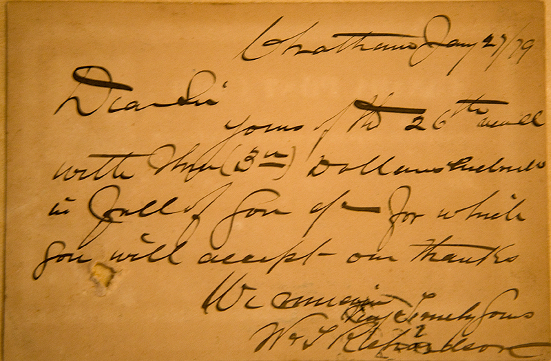 Seems to be some kind of bill sent by postcard in 1879 from Chatham to Morpeth.