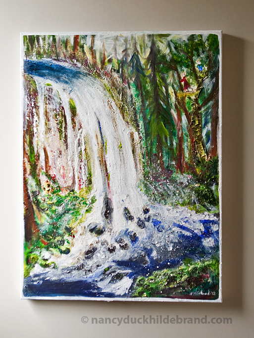 Waterfall - mixed media on canvas 30 x 48 Nancy Duck Hildebrand, 2010-12