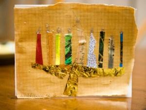 paper collage hanukkah menorah     Paper collage, original artwork by Nancy Hildebrand, 2012