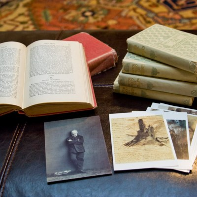 My Les Miserables books in English and French, as well as some postcards I bought at Victor Hugo's apartment in Paris.