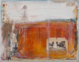 Mixed media painting on canvas by Nancy Hildebrand. This was also inspired by our farm.