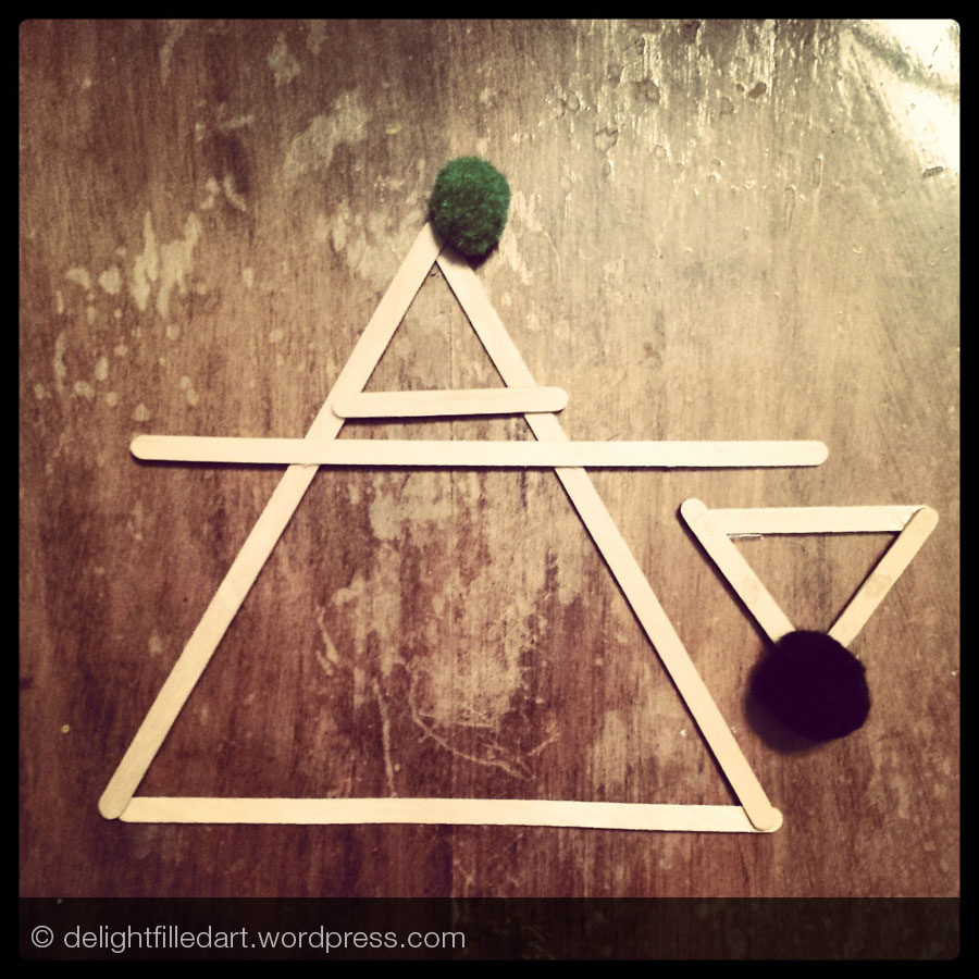 wooden triangle craft     Day 25: Scale - My four-year-old's interpretation of scale