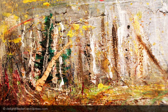 mixed media painting of forest