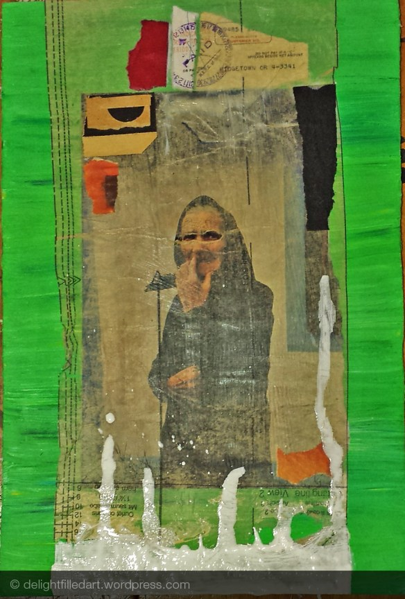 mixed media collage elderly lady