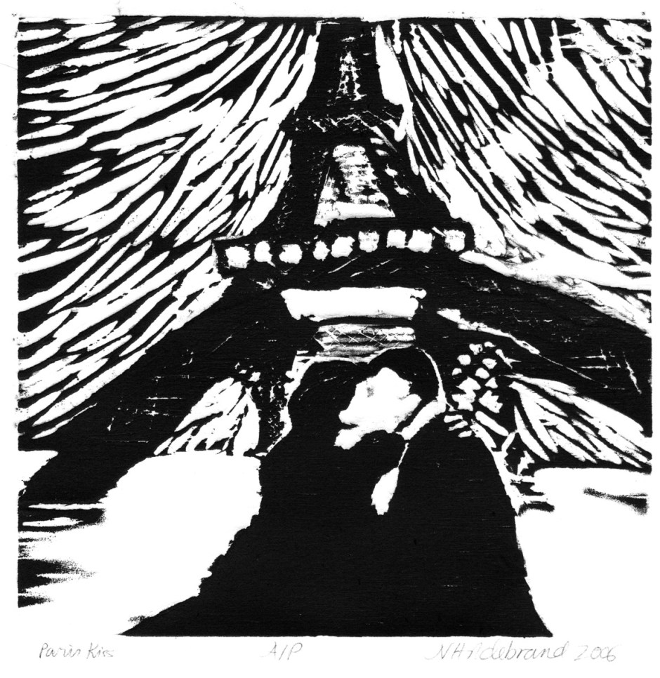 Paris Eiffel tower woodcut print on paper Nancy Hildebrand artist