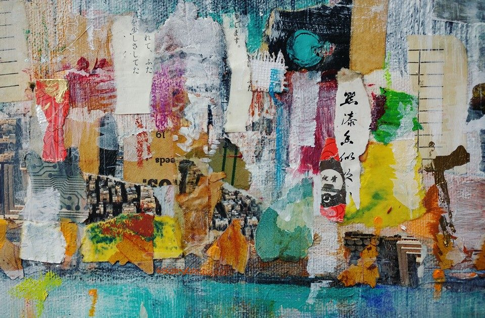 Mixed media painting: seaside city