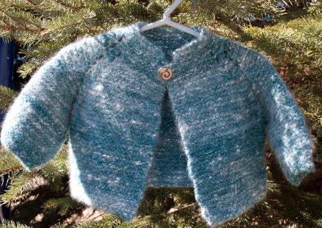 Handspun and hand knit angora and merino baby sweater