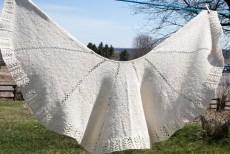Handspun Hand knit Lace Cotton Silk Shawl