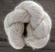 skein of angora and merino wool blend yarn