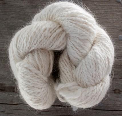 skein of angora and merino wool blend yarn
