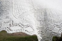 Close up Shetland lace shawl