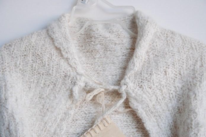 hand knit baby shrug angora and silk
