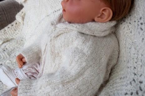 hand knit baby sweater-angora and silk